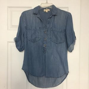 Anthropologie Cloth and Stone chambray tunic top